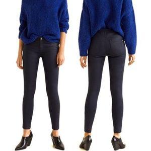 MANGO  Belle Skinny Wax Coated Jeans In Navy 4